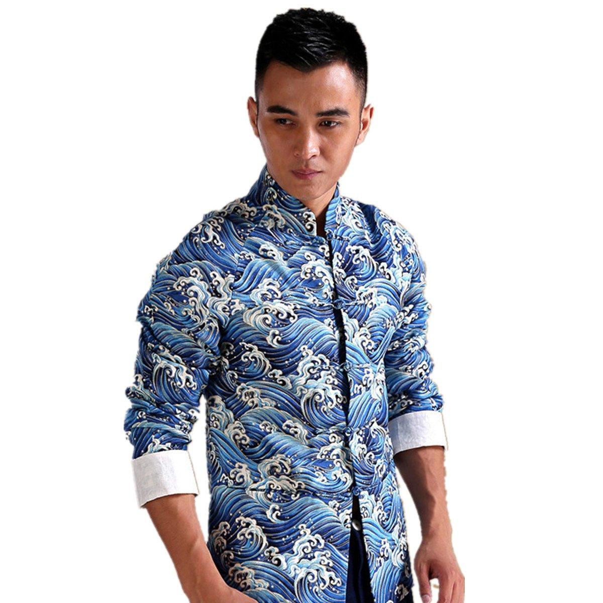 WEISAN Chinese Traditional KungFu Shirt Men Waves Patterned Mandarin Collar Jacket