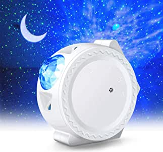 LED Night Light Projector,LUXONIC 3-in-1 Star Night Light Ocean Wave Projector Light Decorative Moon Light with Sound Activated Stars Projector Light for Kids, Baby, Adults, Bedroom, Holidays