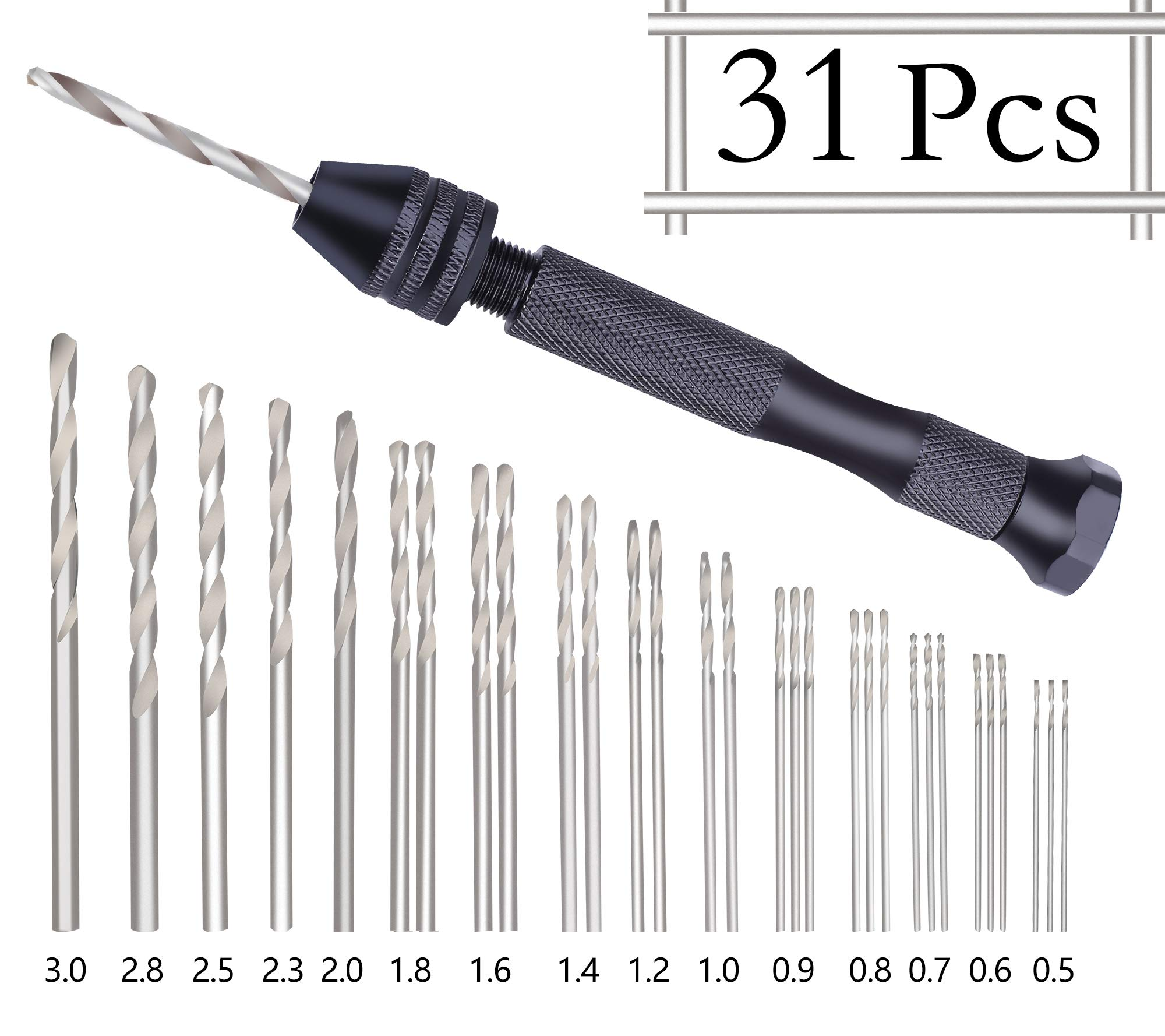 Precision Pin Vise Hobby Drill with Model Twist Hand Drill Bits Set for DIY Drilling Tool 31 Pieces by LnBirch