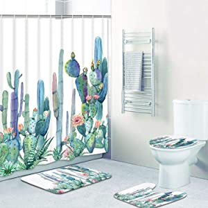 Tropical Cactus Shower Curtain Sets with Non-Slip Rugs, Toilet Lid Cover and Bath Mat, Cactus Flowers Blossom Shower Curtains with 12 Hooks, Durable Waterproof Bath Curtain