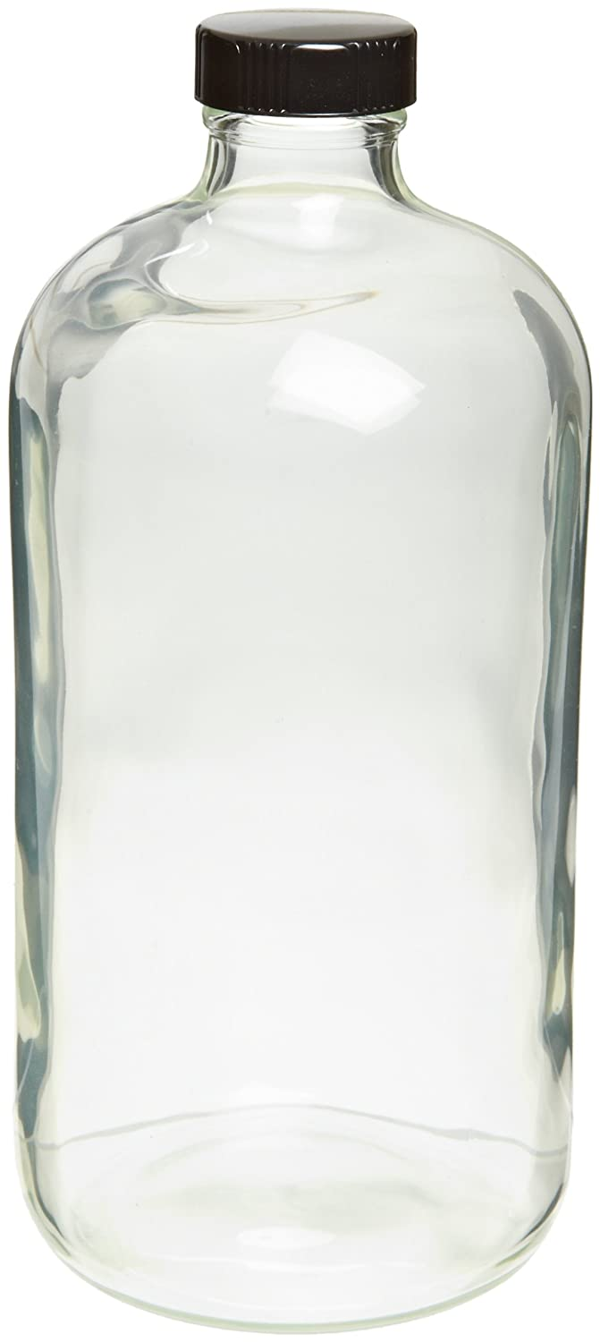 Clear Glass Case of 24 Wheaton 220735 Safety Coated Bottle 16oz With 28-400 Black Phenolic Aluminum Lined Screw Cap 76mm x 172mm Boston Round Style