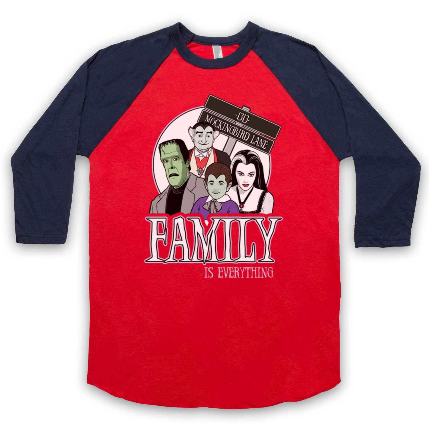 Inspired by Munsters Family Unofficial 3/4 Sleeve Retro Baseball Tee