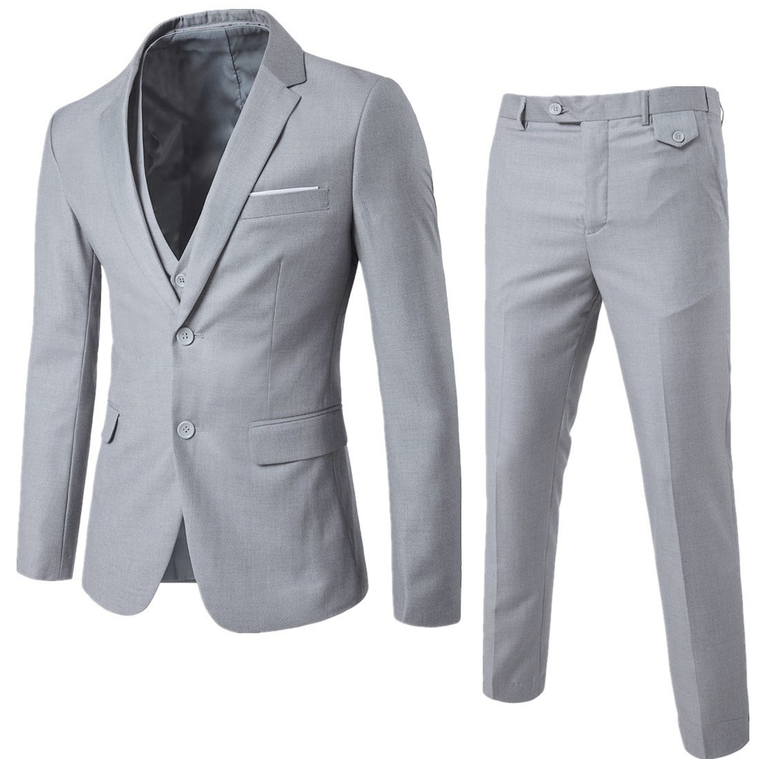 YIMANIE Men's Suit 3 Piece Single Breasted Jacket Two Button Slim Fit Blazer Tux Vest&Trousers