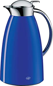 alfi Gusto Glass Vacuum Lacquered Metal Thermal Carafe for Hot and Cold Beverages, 1.0 L, Royal Blue