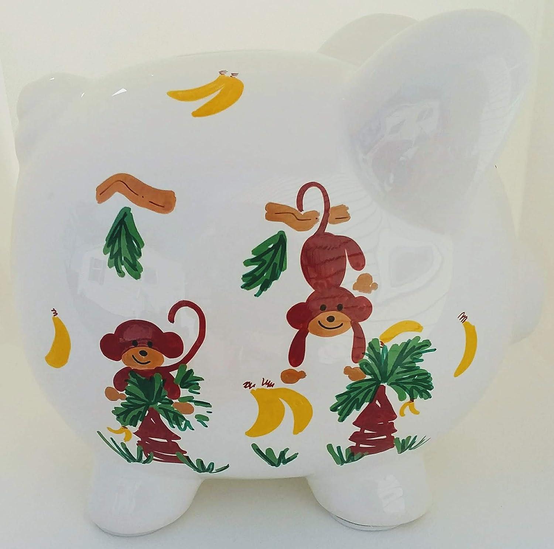 Piggy Bank Boy personalized with Monkeys