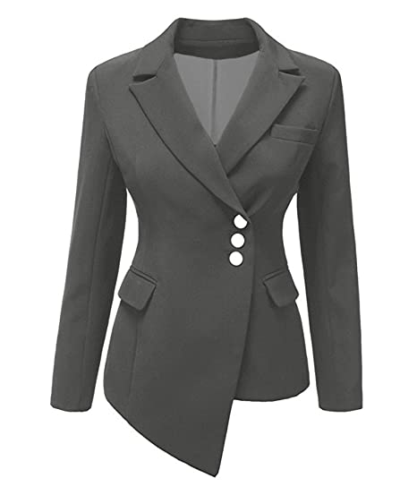 Women S Blazer Casual Work Office Botton Blazer Jacket Solid Color