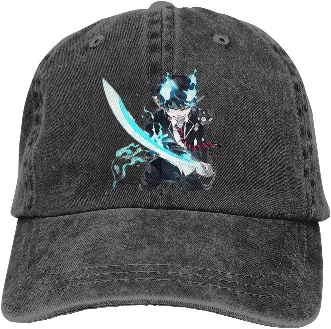 GYHJH Blue Exorcaist Ao No Exorcist Cap Hombres Mujeres Visera Ajustable Fashion Washed Denim Caps Sombreros para Exterior