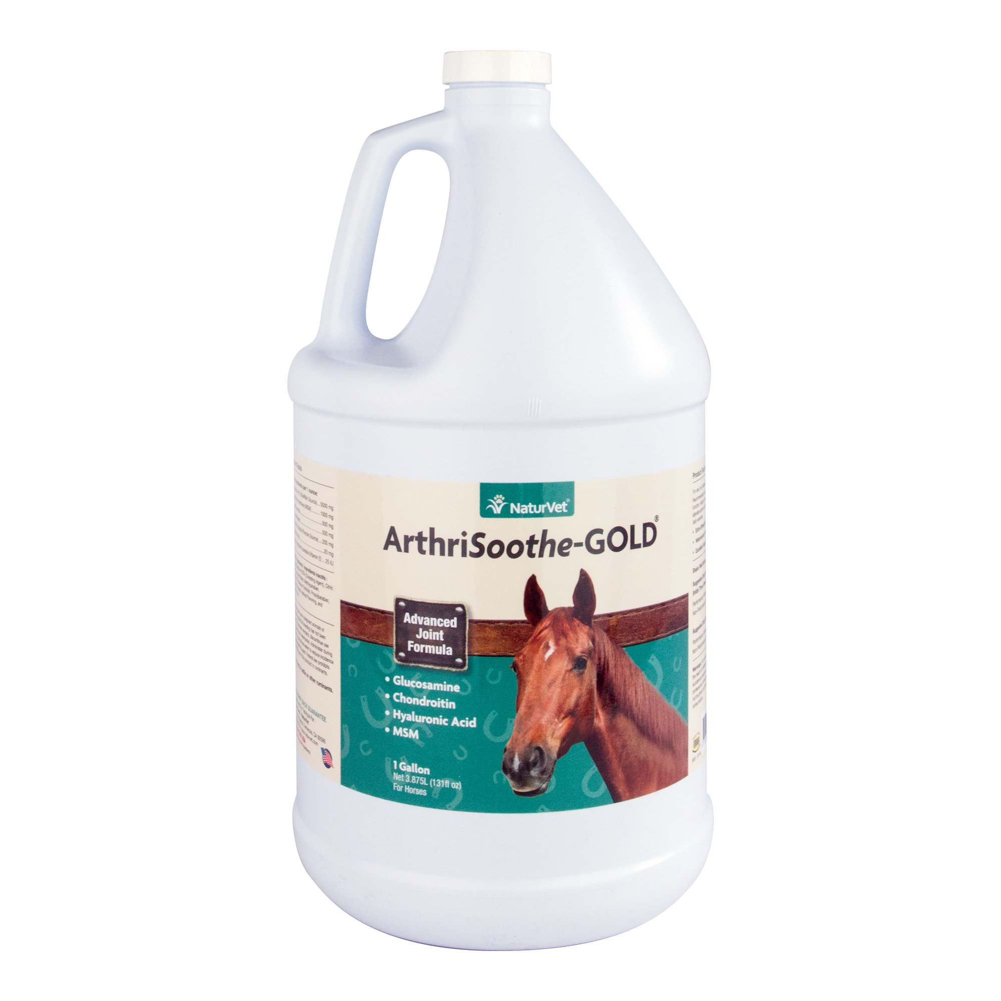NaturVet ArthriSoothe-GOLD Advanced Equine Glucosamine Joint Supplement Formula for Horses, Liquid, Made in the USA, 1 Gallon