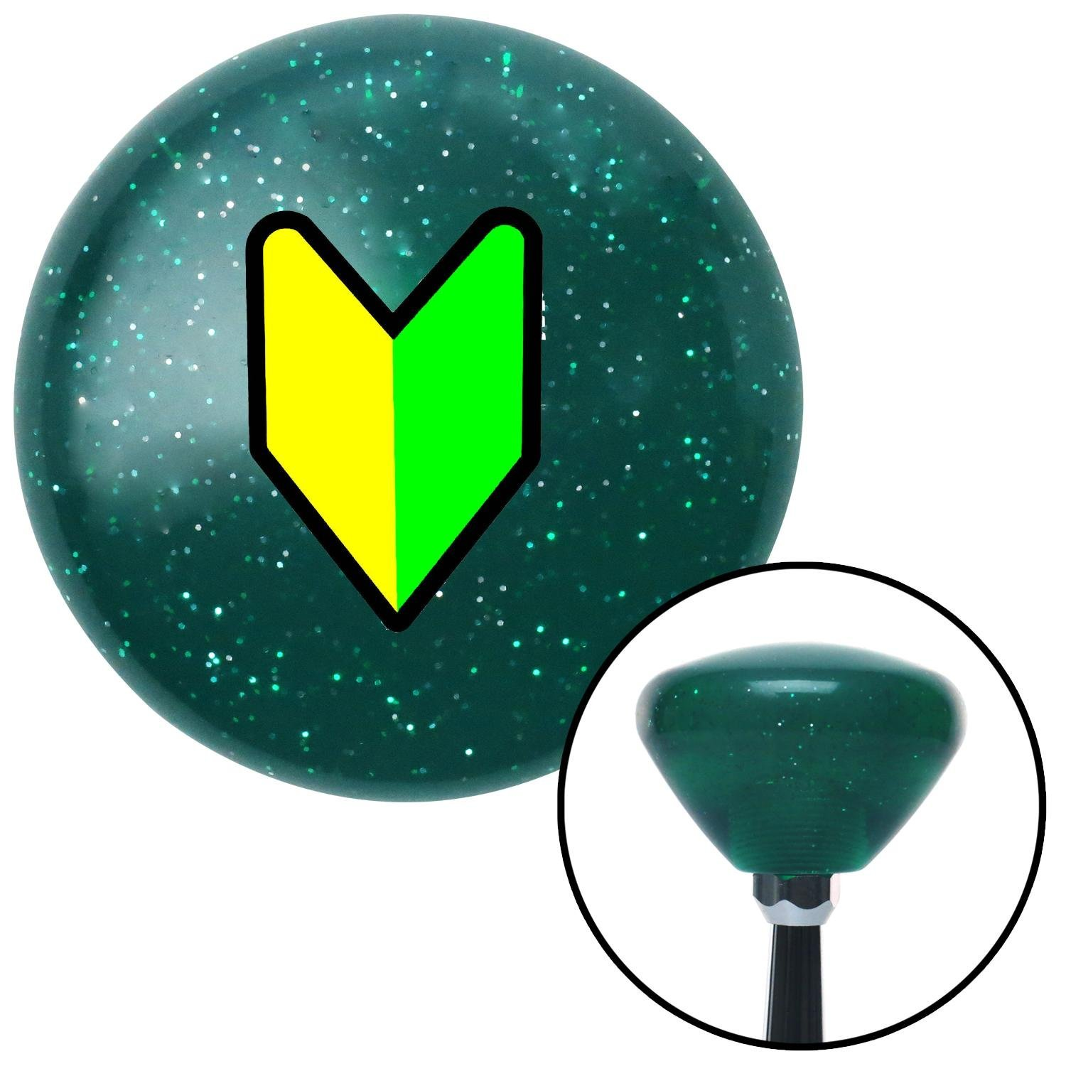 Traditional Wakaba Leaf American Shifter 207969 Green Retro Metal Flake Shift Knob with M16 x 1.5 Insert