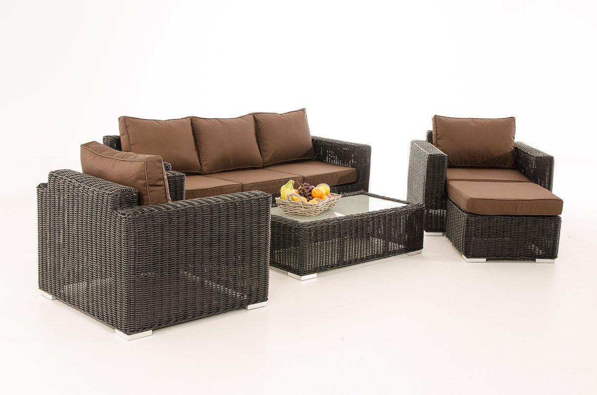 Mendler 3-1-1 Gartengarnitur CP053 Sitzgruppe Lounge-Garnitur Poly-Rattan ~ Kissen terrabraun, schwarz