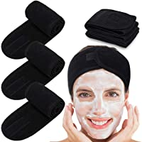 Spa Facial Headband Whaline Head Wrap Terry Cloth Headband 4 Counts Stretch Towel with Magic Tape for Bath, Makeup and…