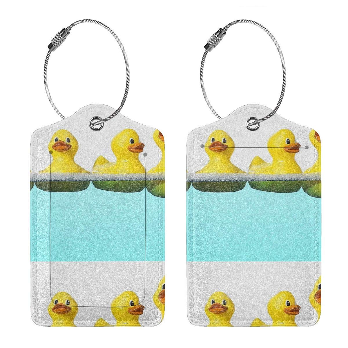 Yellow Duck In The Pool Leather Luggage Tags Personalized Address Card With Adjustable Strap