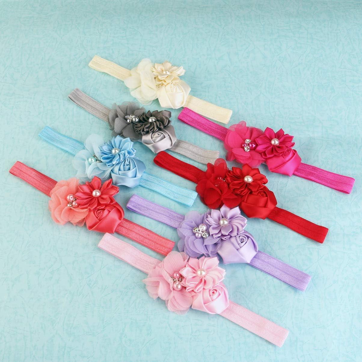 NUOLUX 8ST Cute Baby Girls Sweet Rose Blumen Perle elastisch Haarband Haar Band Zubeh/ör Foto Props