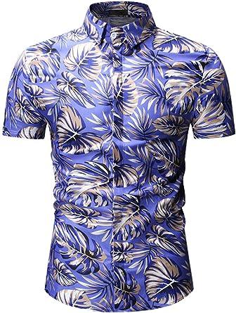 Camisa De Verano con Estampado De Hojas De Manga Corta Blusa Casual con Botones: Amazon.es: Ropa y accesorios