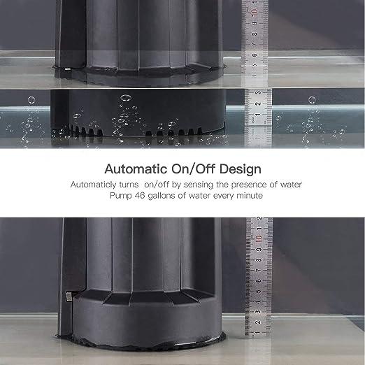 Bomba de agua sumergible, TACKLIFE 1/3 HP, interruptor automático, bomba de agua eléctrica con bajo ruido y válvula de comprobación, motor de cobre puro de alta eficiencia, 2550 GPH de flujo máximo,