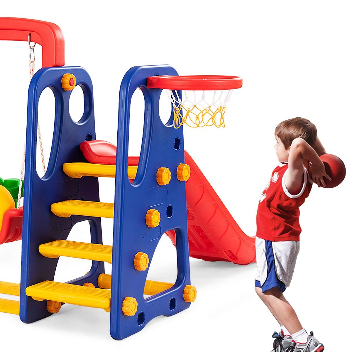 Costzon Toddler Climber and Swing Set, Junior Basketball Hoop Playset for Both Indoors & Backyard (3-in-1 Slide & Swing Set) by Costzon (Image #8)