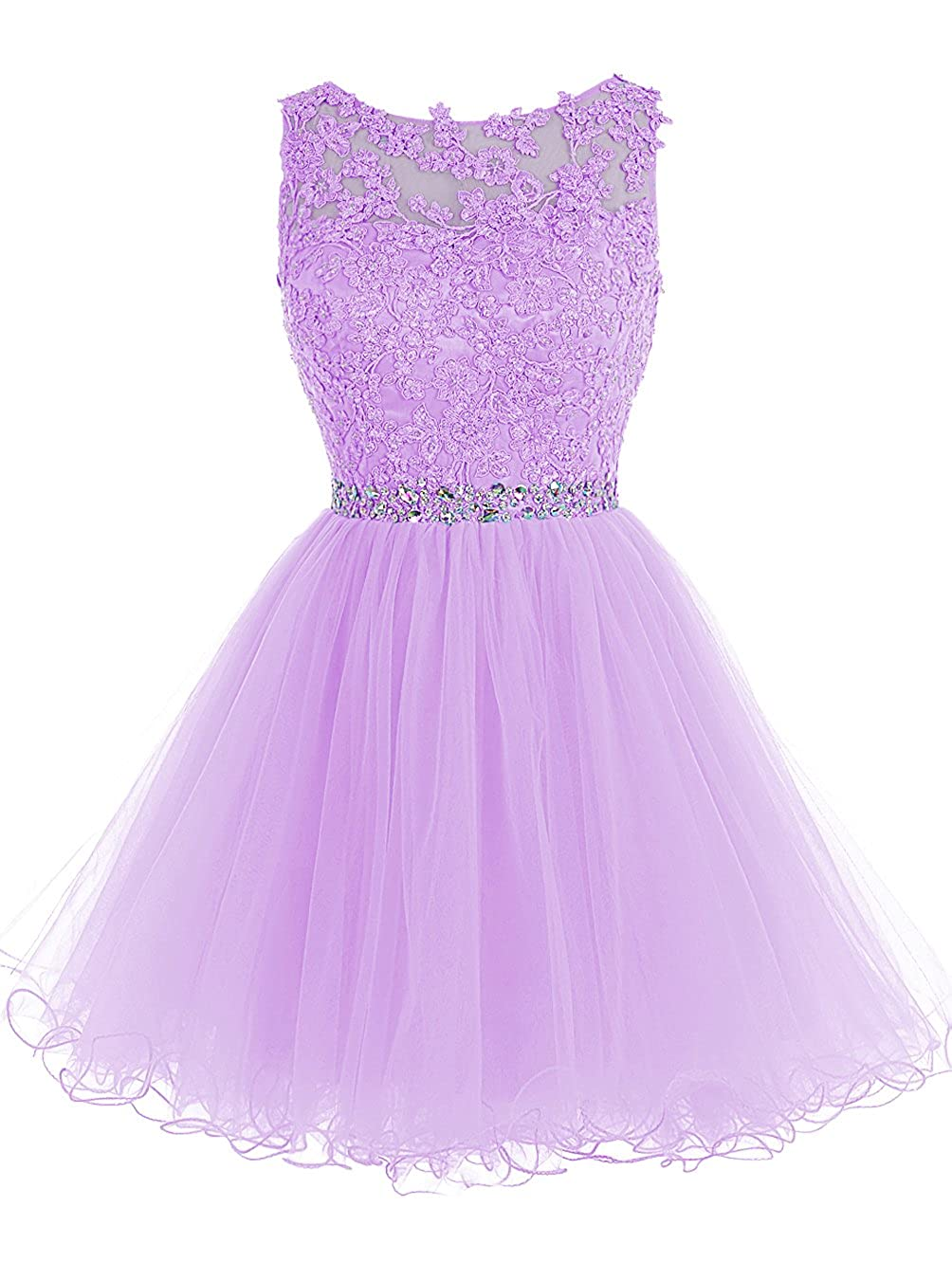 Lavender TideClothes Short Beaded Homecoming Dress Tulle Applique Prom Party Gowns