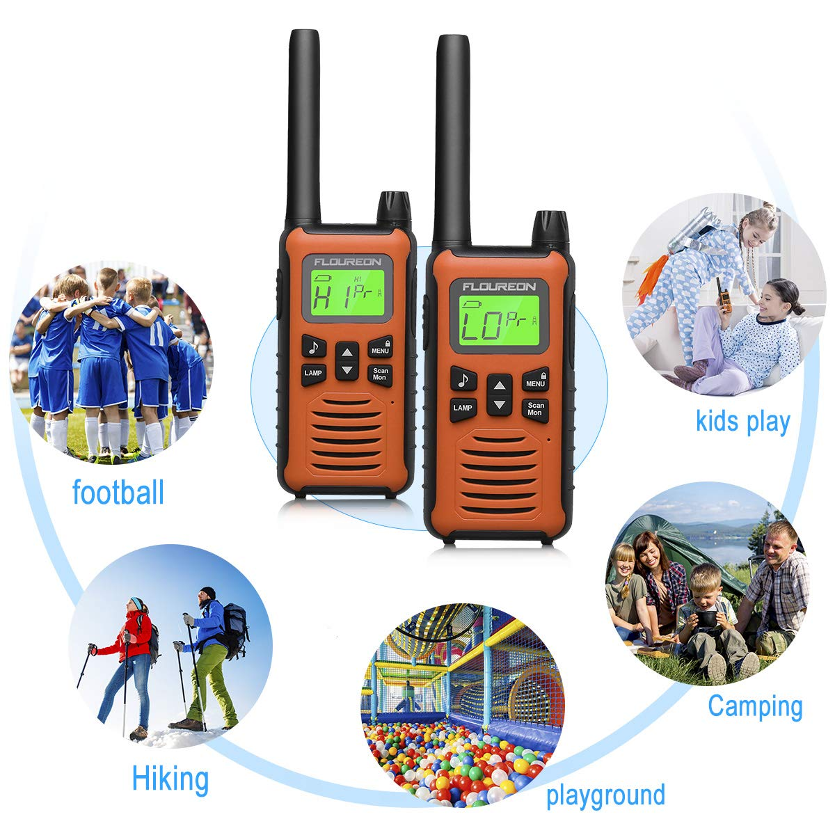Black MAX 5000M USB Cable Charging Walkie Talkies for Outdoor Adventures Camping Hiking floureon 4 Pack Walkie Talkies for Kids Long Range Two Way Radio 22 Channel 3000M