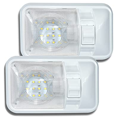 Leisure LED 2 Pack 12V Led RV Ceiling Dome Light RV Interior Lighting for Trailer Camper with Switch, Single Dome 280LM: Automotive