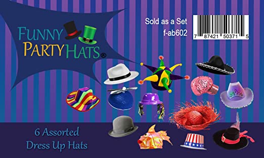 a9a6056844e Amazon.com  6 Assorted Dress Up Costume   Party Hats by Funny Party Hats (6  Adult Costume Hats)  Kitchen   Dining