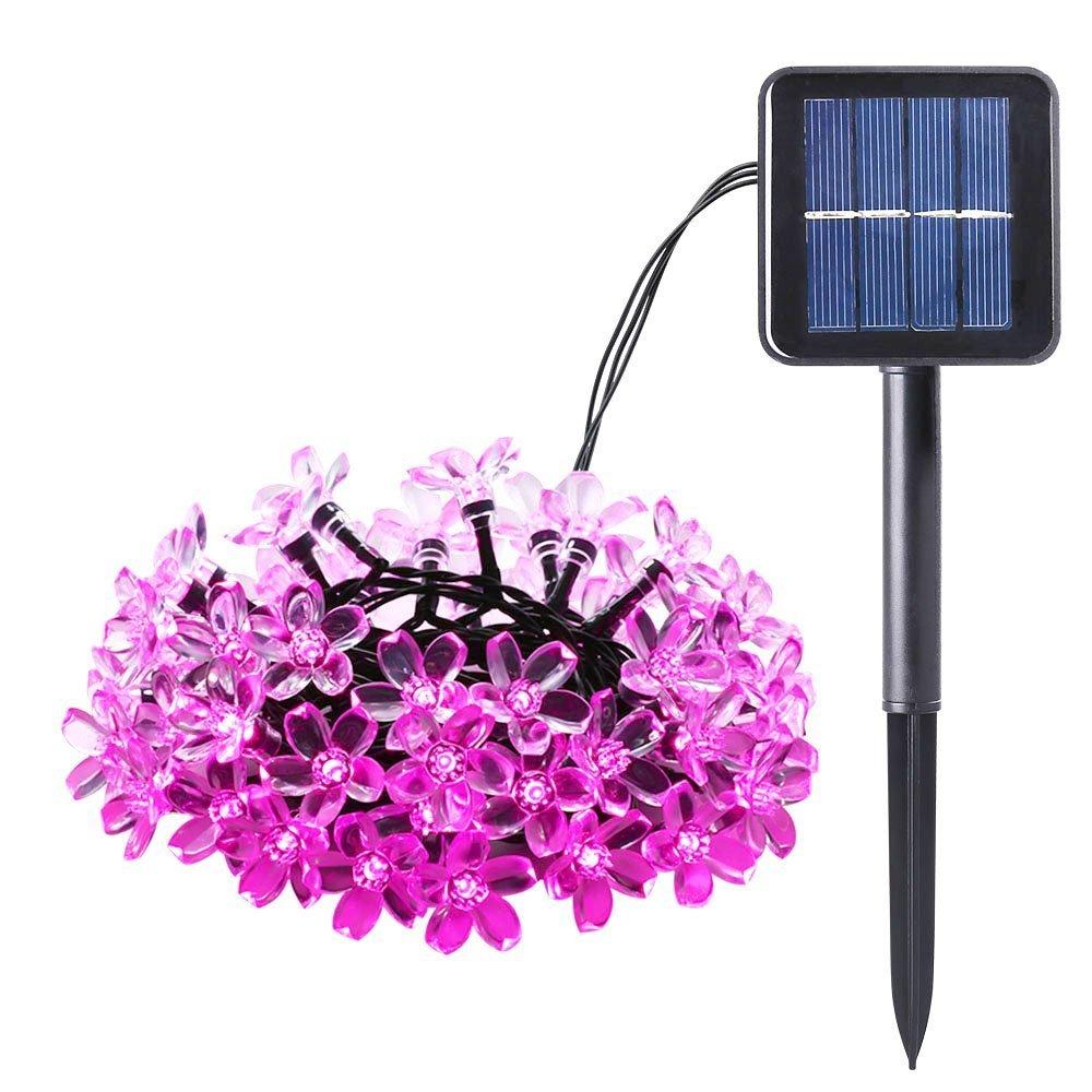 Qedertek Solar Fairy Lights 12.5ft 12 LED Fiber Optic Butterfly Outdoor Solar Garden Lights for Christmas Tree, Outdoor, Fence, Patio, Lawn Decor (Multi-Color)