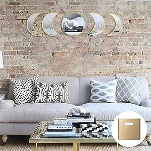 YUBAIHUI 5pcs Scandinavian Bohemian Home Wall Decor Moon Phase Decorative Mirror Set Acrylic Bedroom Decoration Self Adhesive Ornament Living Room Decor (Golden)