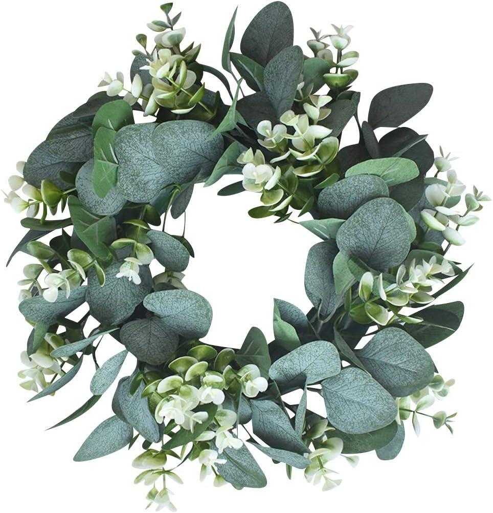 UArtlines Corona di eucalipto Artificiale da 15,7 Pollici per la Decorazione della Festa Nuziale della Finestra della Porta dingresso