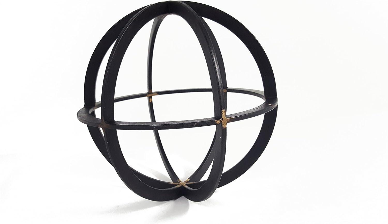 Large Black & Gold Iron Band Decorative Sphere