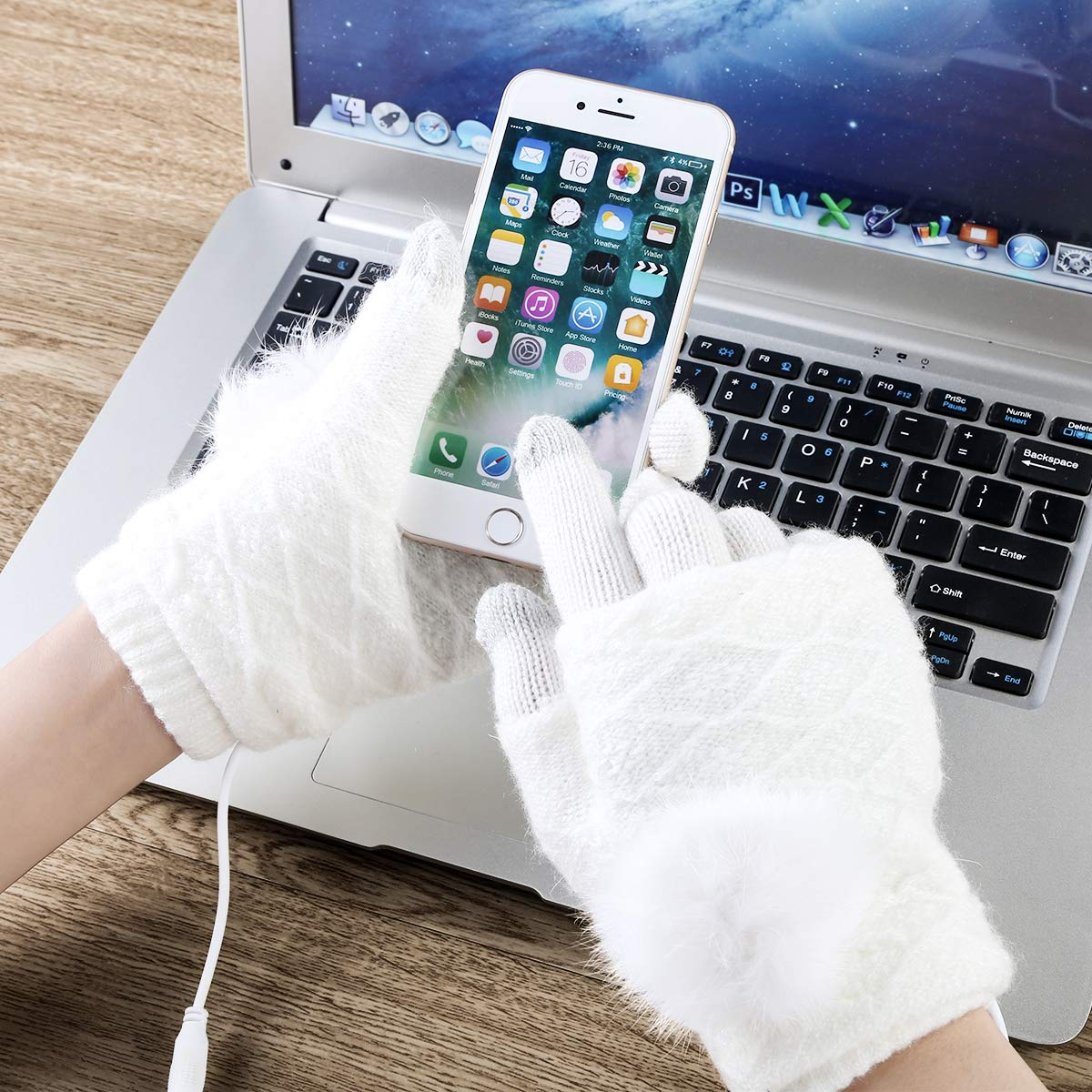 Guanti Mezze Dita Intere Mengqiy Guanti scaldamani USB Caldi Invernali Unisex per Uomo e Donna riscaldati Via USB