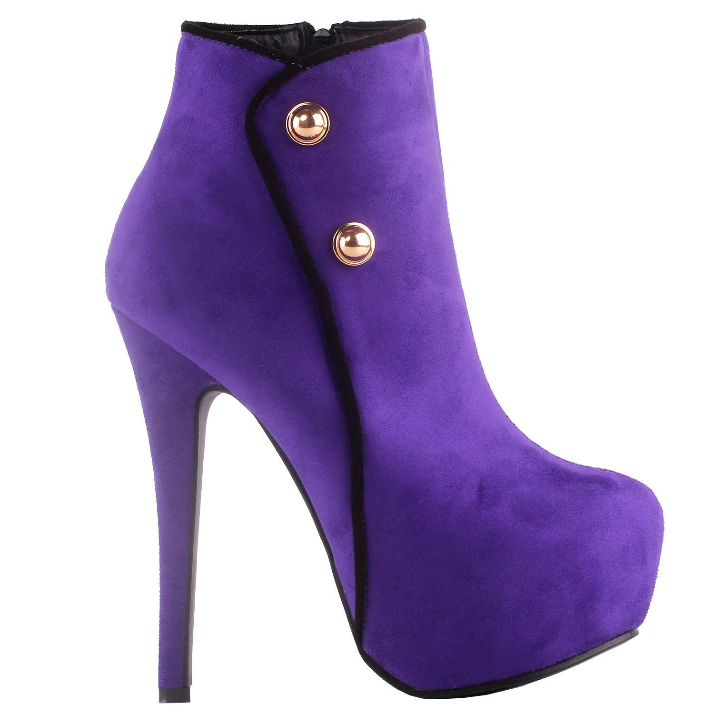 Show Story elegante Gr¨¹n/schwarz Button Stiletto Heel Platform knchel stiefel,LF80829 Violett