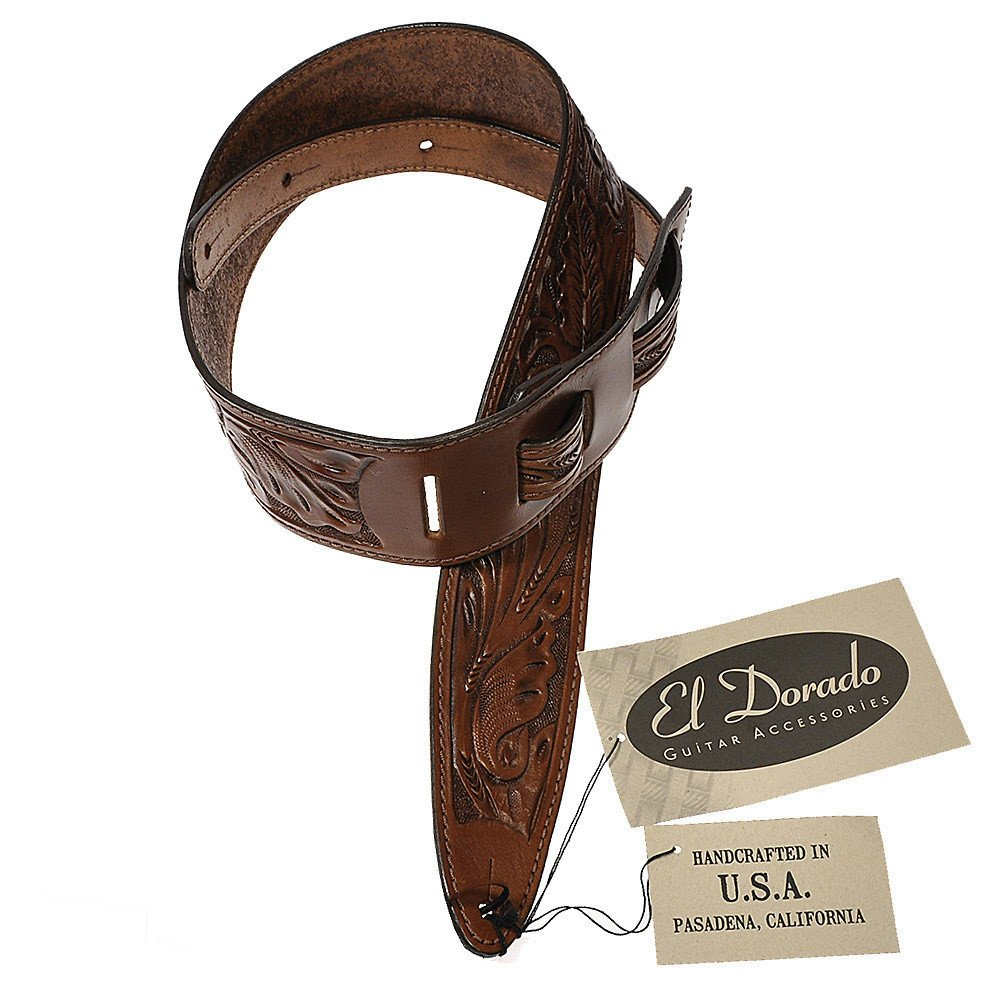 El Dorado Durango Hand-Tooled Wild Rose Leather Guitar Strap 2.5 Inch - Brown