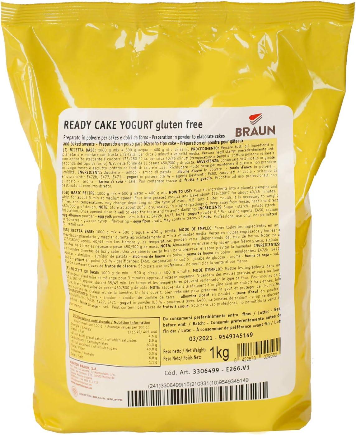 READY CAKE YOGURT - Preparado sin gluten para bizcocho sabor yogurt - 1 kg