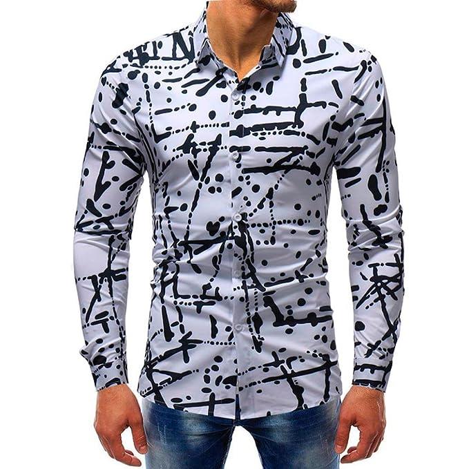 Camiseta para Hombre, RETUROM Blusa Impresa de la Manera del Hombre Camisas Ocasionales de Manga