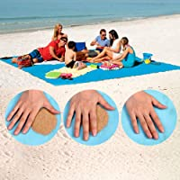 "Sand-Free Beach Mats, Beach Mat Sand Proof Rug Picnic Blanket - Fast Dry, Easy to Clean Perfect Ultra Portable for Beach, Picnic, Camping, Outdoor Events (79""x 79"")"