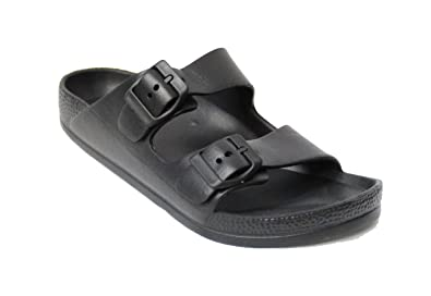 370e295be H2K Womens Comfort Slides Adjustable Double Buckle EVA Flat Slide Sandals  (Black