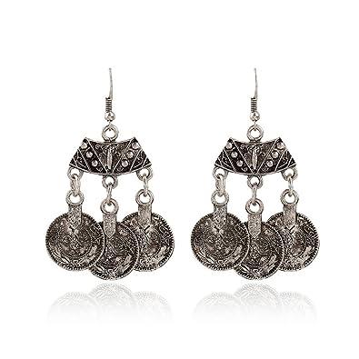 Buy Maitreya Wonder retro oxidised silver coin earring for women and