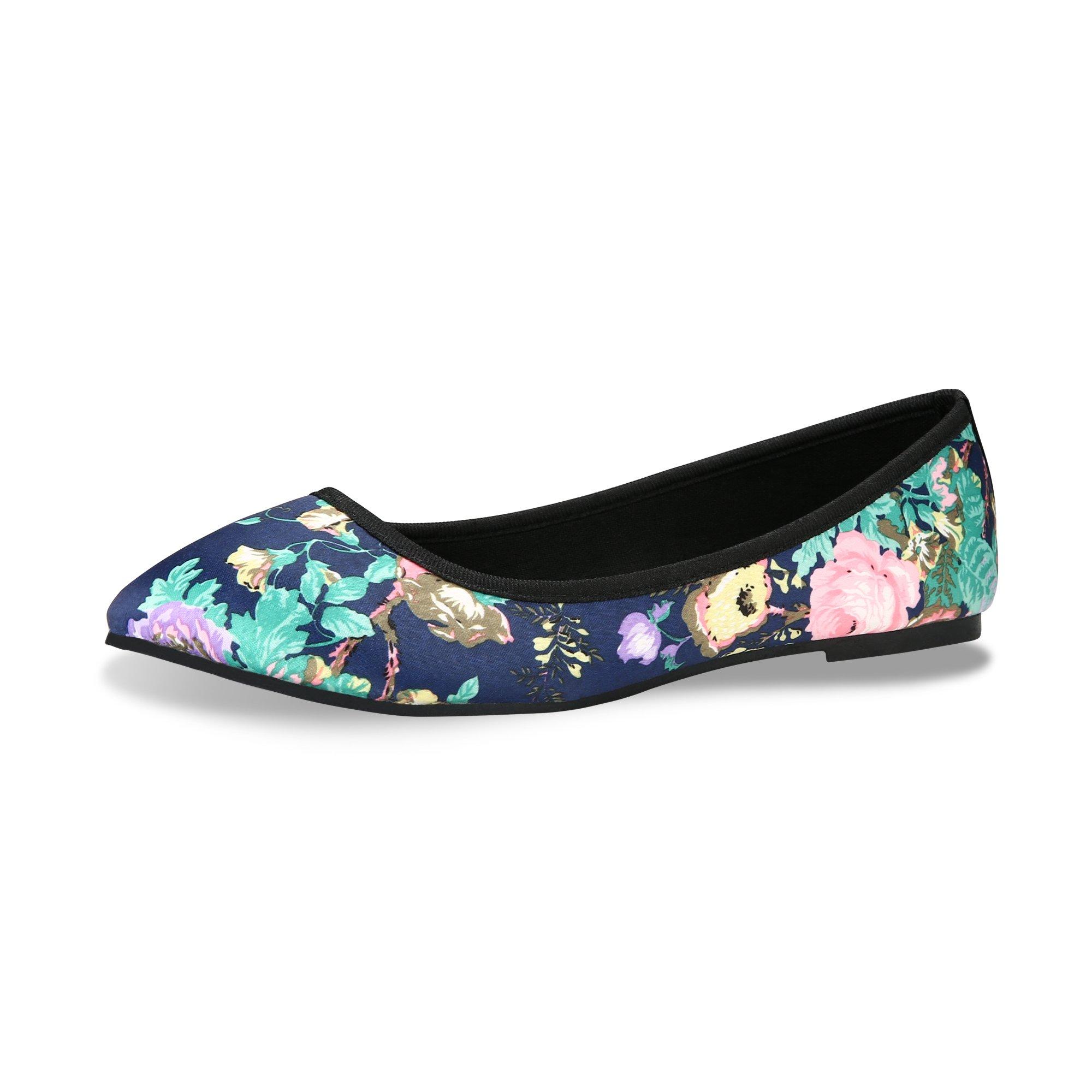 CINAK Flat Shoes Women Floral Printing Low-Cut Pointed Toe (8-8.5 B(M) US/EU39/CN40/25CM, Blue)