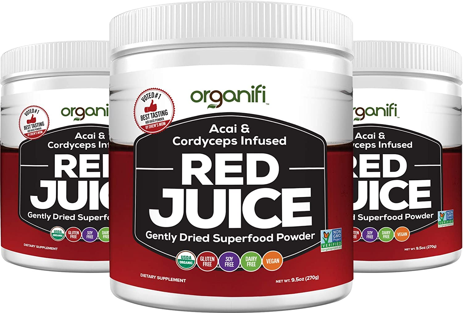 Organifi: Red Juice- Organic Superfood Supplement Powder - 3 Pack - Supports Immunity, Skin Health and Weight Loss Management - Anti-Aging Properties