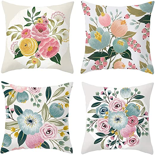 18 Colorful Flowers Pattern Throw Pillow Cases Linen Cotton Home Cushion Cover