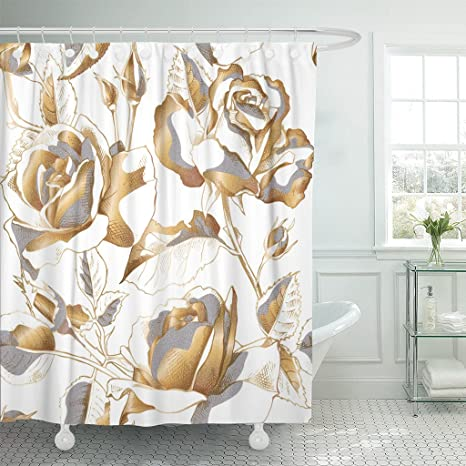 emvency shower curtain black floral with gold rose flowers leaves and buds on white golden leaf waterproof polyester fabric 72 x 72 inches set with