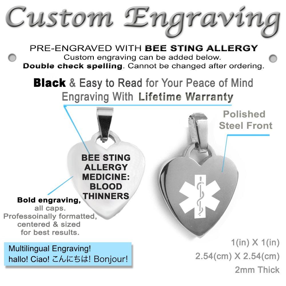 Pre-Engraved /& Customized Bee Sting Allergy Bracelet My Identity Doctor Black Red Millefiori Glass