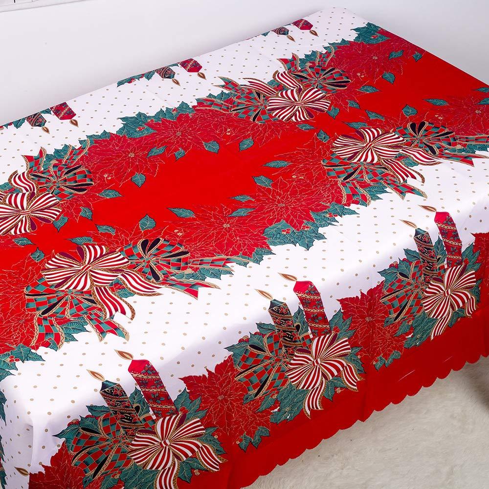 YOUNICER Polyester Christmas Printed Tablecloth Christmas Ribbons Engineered Printed Pine Tree Christmas Table Cloths