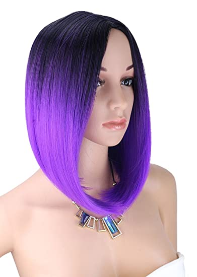 Short Bob Straight Black To Bright Purple Kalyss Women S Wig Short Bob Dark Root Wig Women S Fashion Top Quality Heat Resistant Synthetic Ombre Black To Bright Purple Hair Wigs For Women