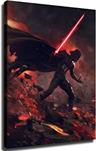 Darth Vader Star Wars Poster Canvas Art Poster and Wall Art Picture Home Decor Painting Santa RONA (16x24 Wooden Framed,SR132698)