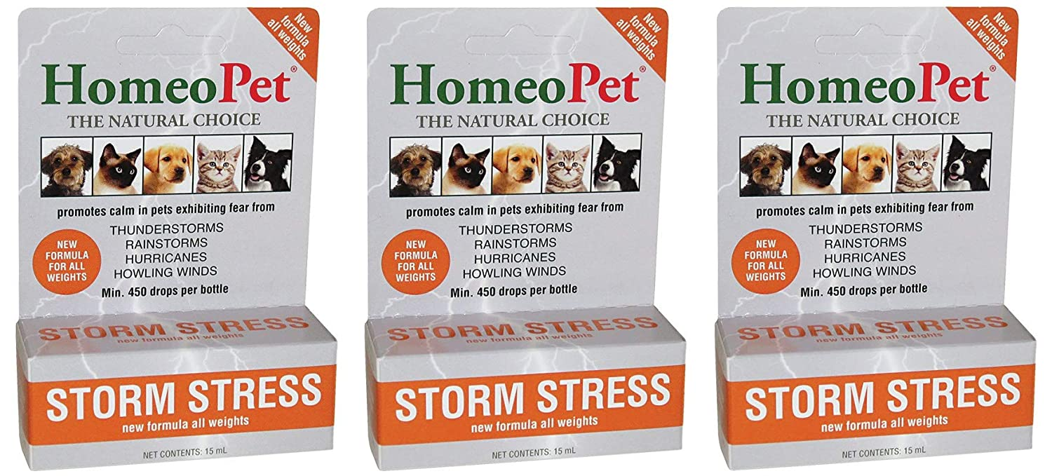 3 Pack  All Sizes HomeoPet Storm Stress, 3 450Drop Bottles, Natural Pet Anxiety Relief for All Weights