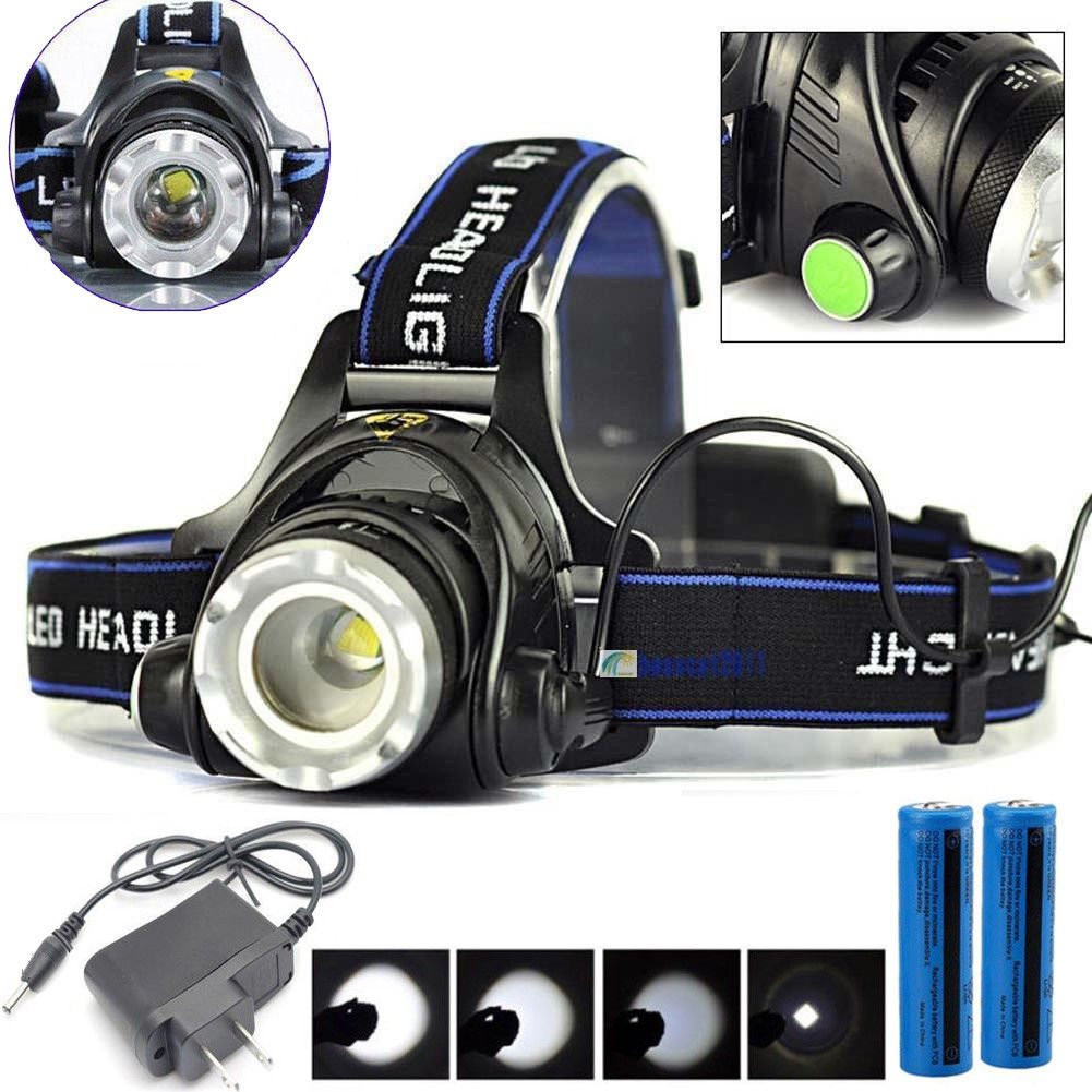 90000LM Rechargeable Headlight T6 LED Tactical Headlamp Zoomable+Charger+Battery By USA_Best_Seller