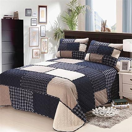 Amazon Com Abreeze 3pcs Checks Printed Quilt Comforter