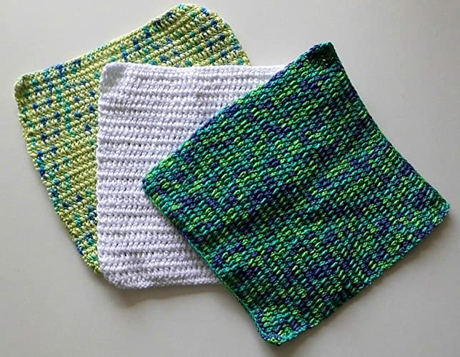 Crochet Dish Cloth Set Of 3 8 X 75 Potholders Crochet