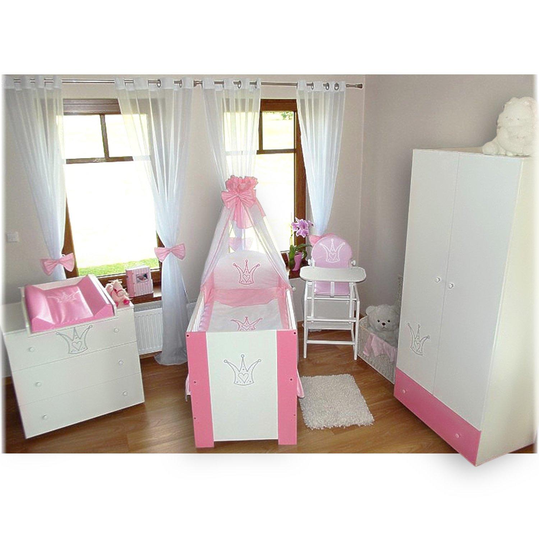 Klubs Kinderzimmer Krone Rosa komplett (Bett/Kommode/Schrank)