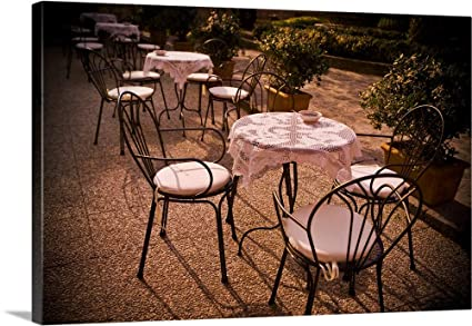 Tables Are Set At An Outdoor Bistro In Italy   Canvas Wall Art Gallery  Wrapped Ready